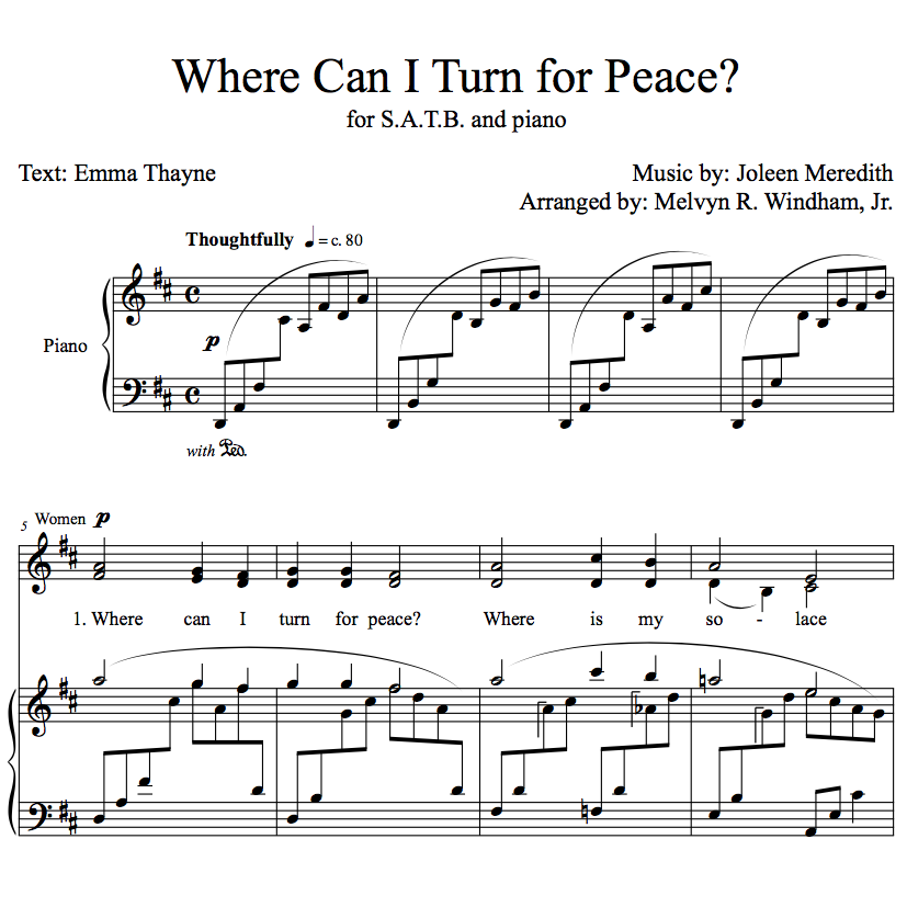 Where Can I Turn for Peace? (Sheet Music for Choir - SATB, Piano)