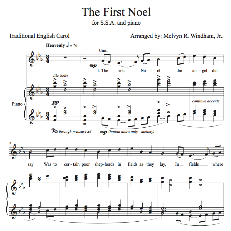 The First Noel (Sheet Music for Women's Choir -- SSA and Piano)